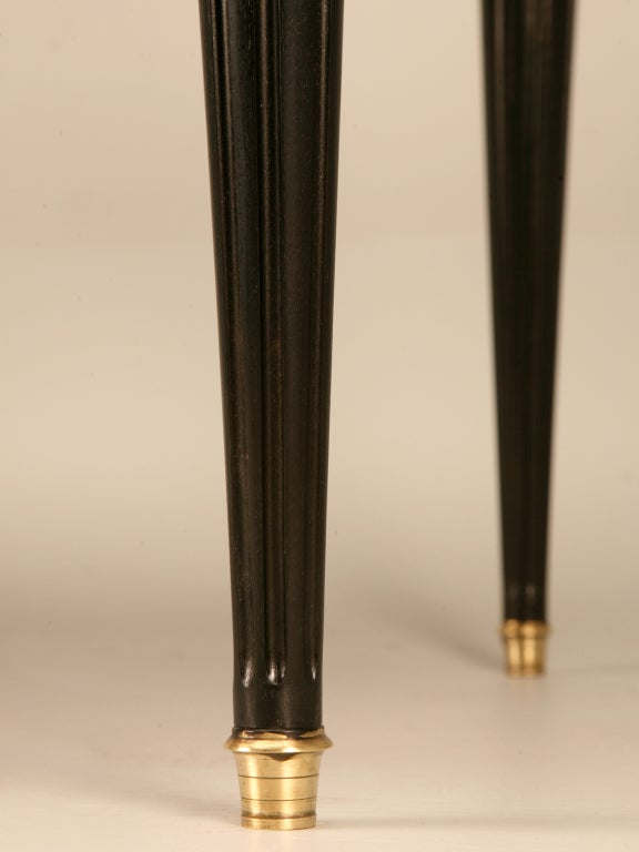 Ebonized Antq. French Louis XVI Bureau Plat w/Black Leather For Sale 4