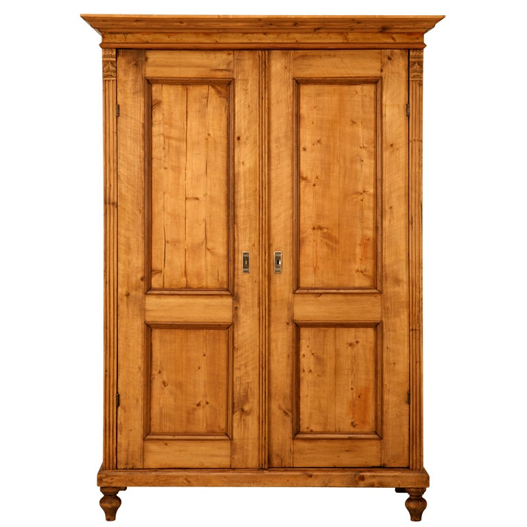 Outstanding Antique English Pine Armoire W Pocket Doors At
