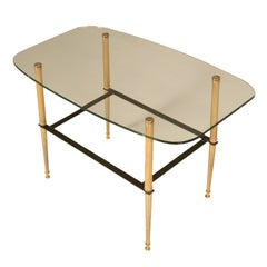 Vintage French Moderne Coffee Table w/Thick Glass Top