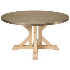 """Amazing French 55"""" Round Zinc Topped Dining Table w/Painted Base"""