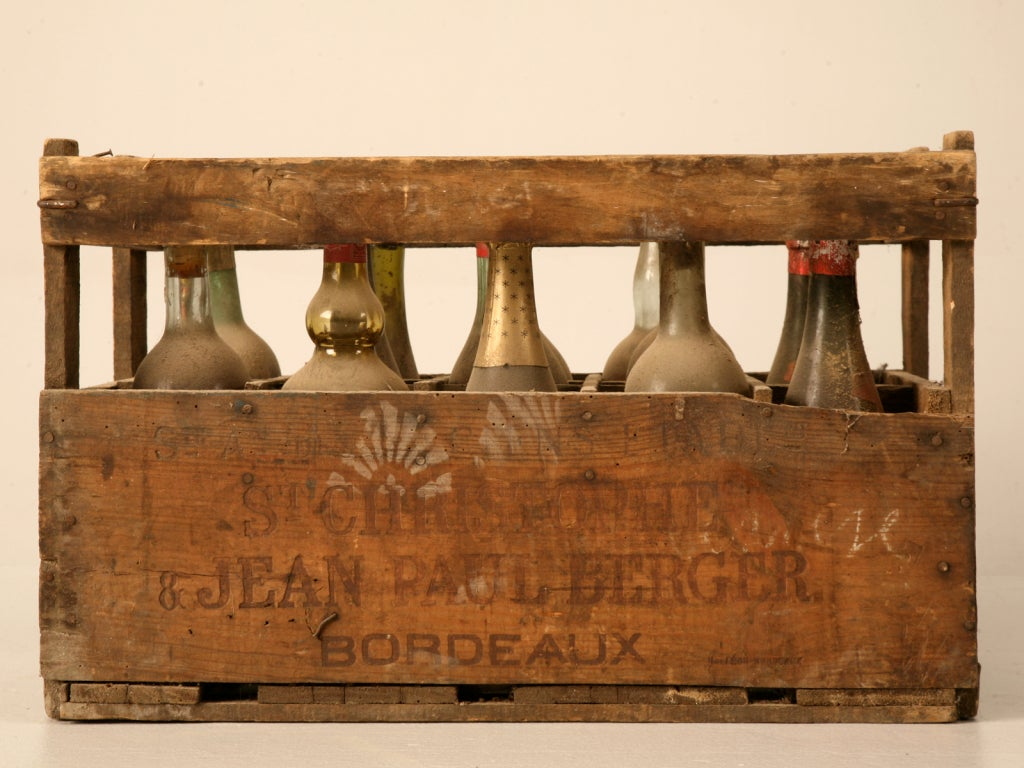 original vintage french wine crate s for decoration at