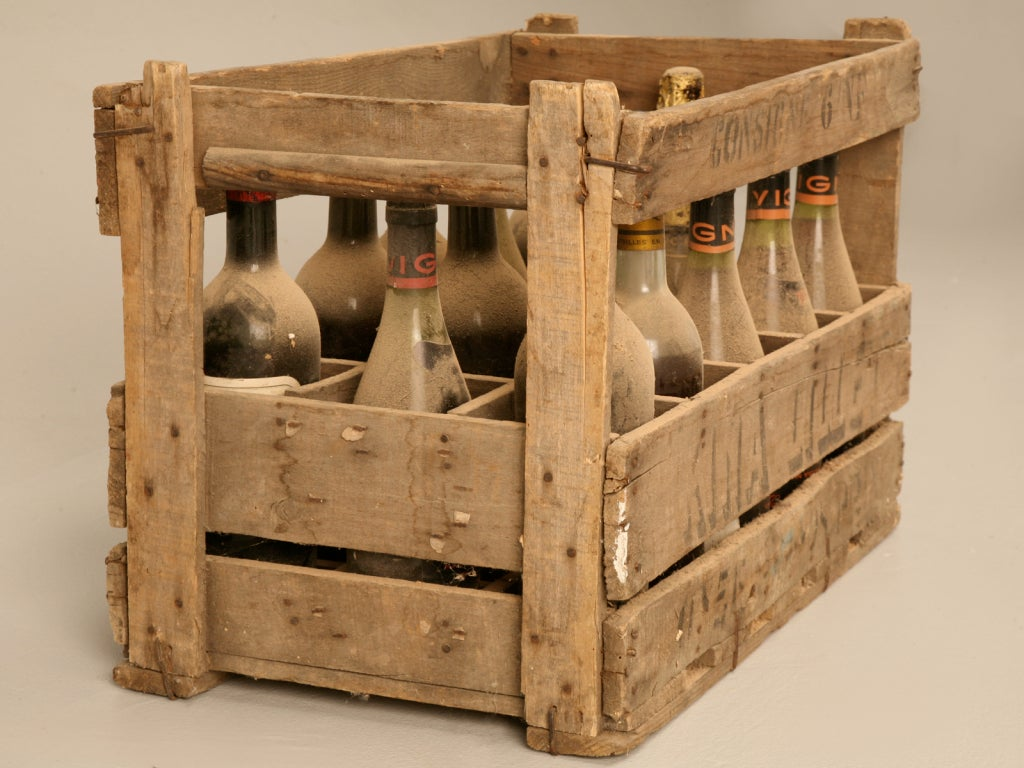 Original vintage french wine crate s for props and for Wine crate furniture
