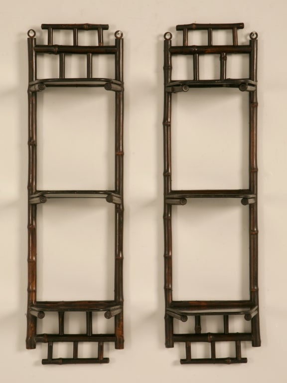 Pair Of Antique English Japanned Bamboo 3 Shelf Wall