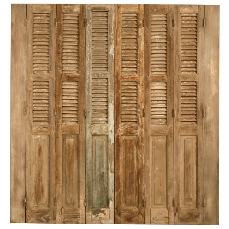 Antique french shutters with original paint for sale at for Spanish style interior shutters