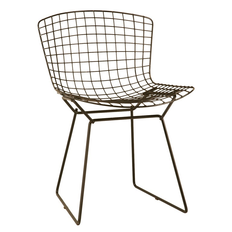 original vintage bertoia side chair in black at 1stdibs. Black Bedroom Furniture Sets. Home Design Ideas