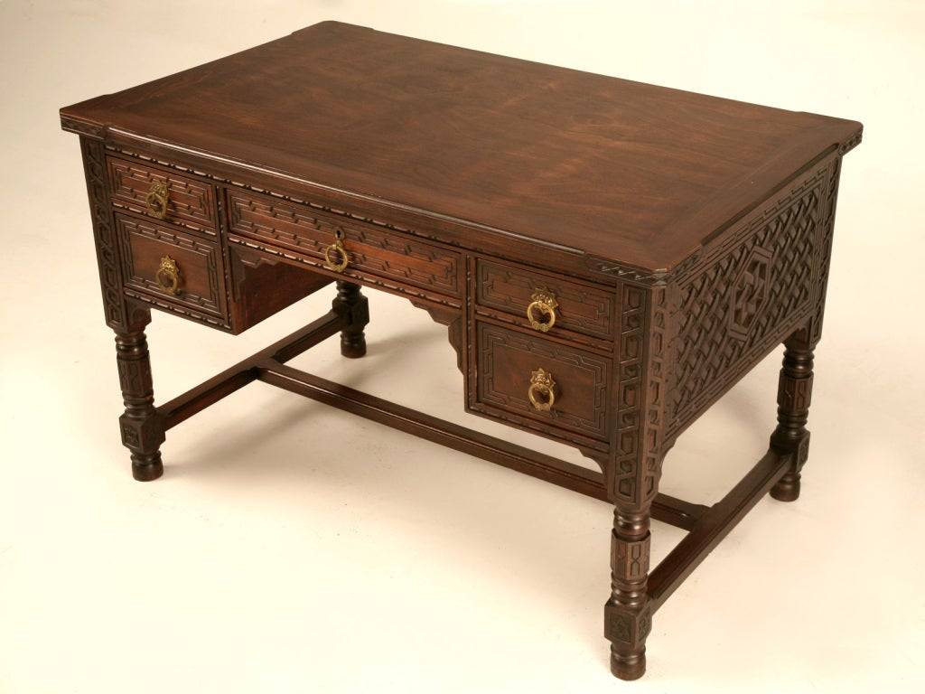 Exquisite Heavily Hand Carved Antique Spanish Desk And
