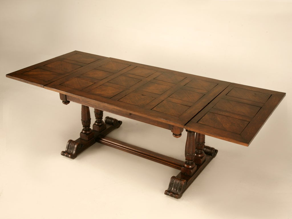 Unique antique french solid oak draw leaf library or for Original dining tables