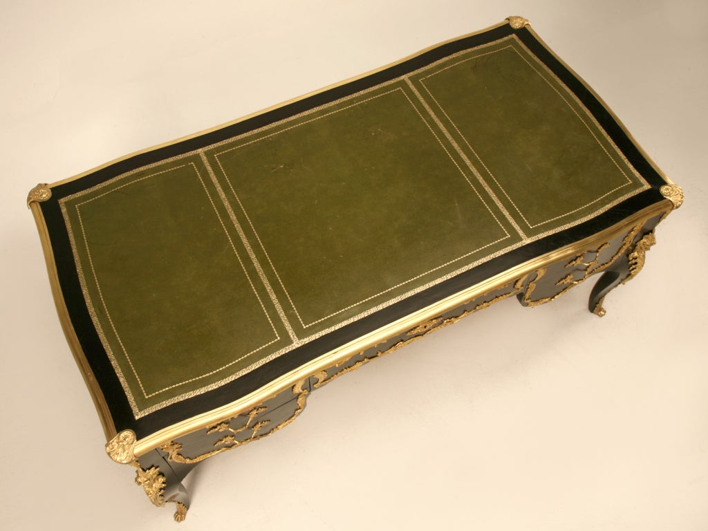 Ornate Ebonized French 5 Drawer Desk w/Ormolu & Tooled Leather Top 3