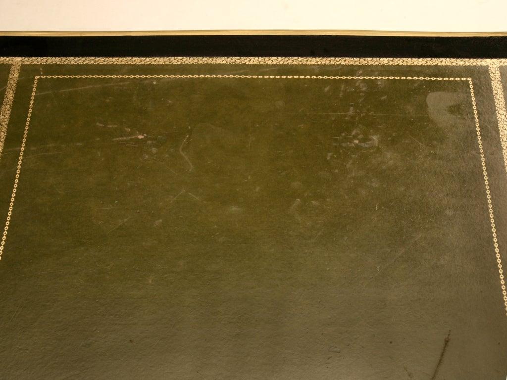 Ornate Ebonized French 5 Drawer Desk w/Ormolu & Tooled Leather Top 4
