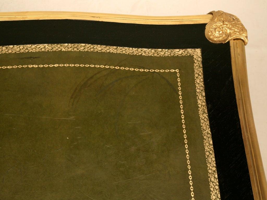 Ornate Ebonized French 5 Drawer Desk w/Ormolu & Tooled Leather Top 5