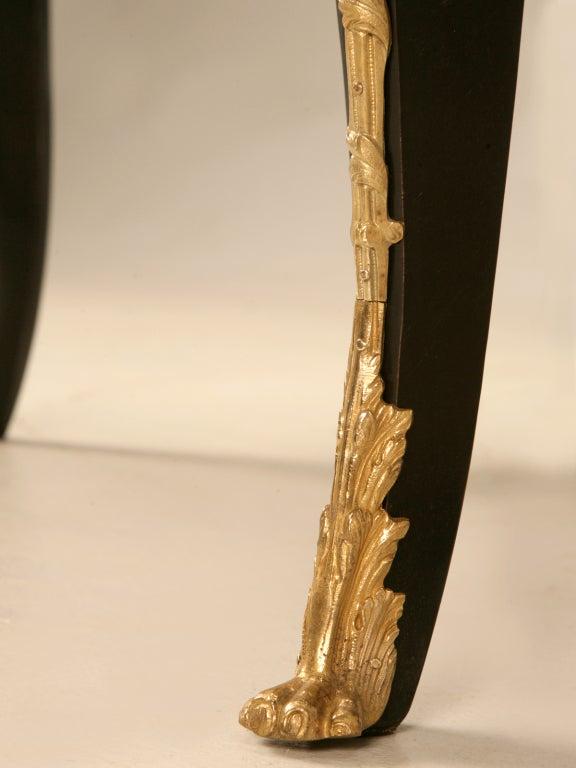 Ornate Ebonized French 5 Drawer Desk w/Ormolu & Tooled Leather Top 9