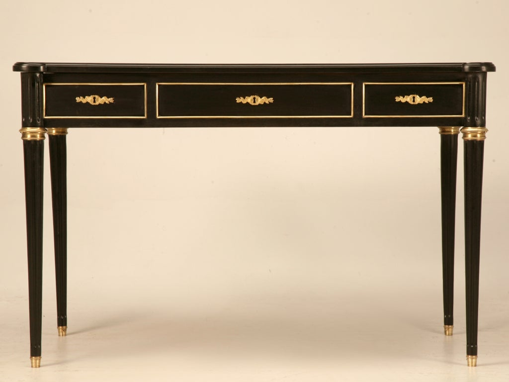 Elegant French LXVI Ebonized Mahogany 3 Drawer Bureau Plat/Desk For Sale 6