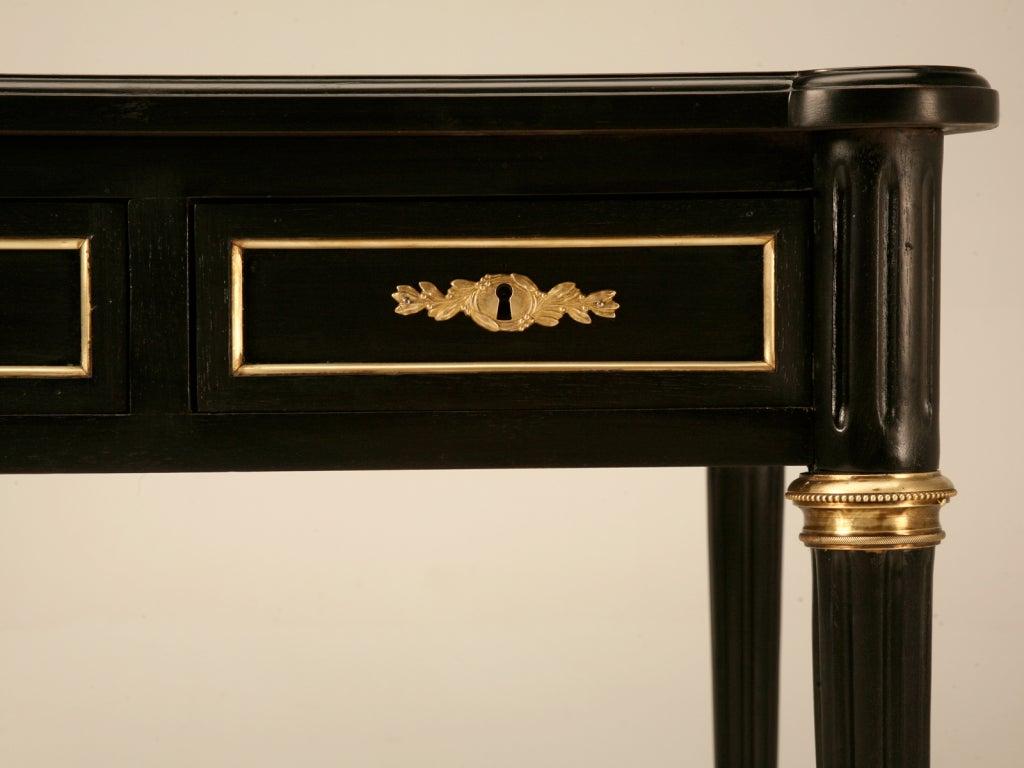 Elegant French LXVI Ebonized Mahogany 3 Drawer Bureau Plat/Desk For Sale 1