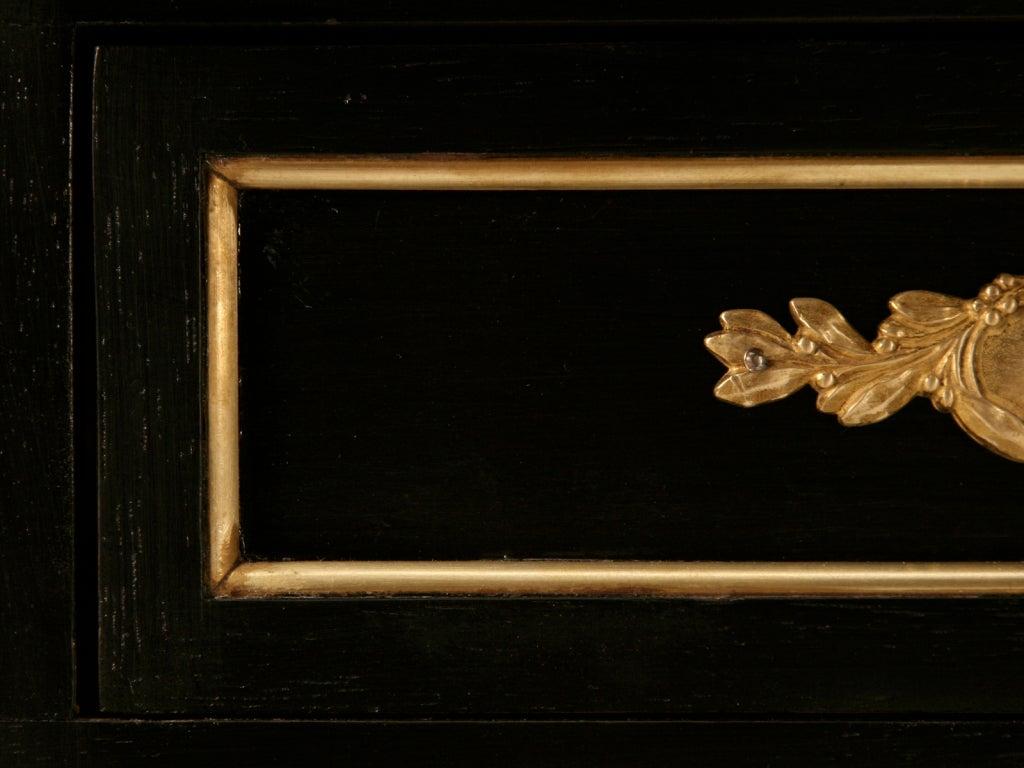 Elegant French LXVI Ebonized Mahogany 3 Drawer Bureau Plat/Desk For Sale 2