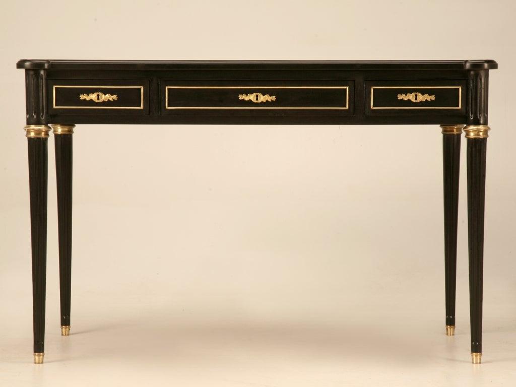 Elegant French LXVI Ebonized Mahogany 3 Drawer Bureau Plat/Desk For Sale 3