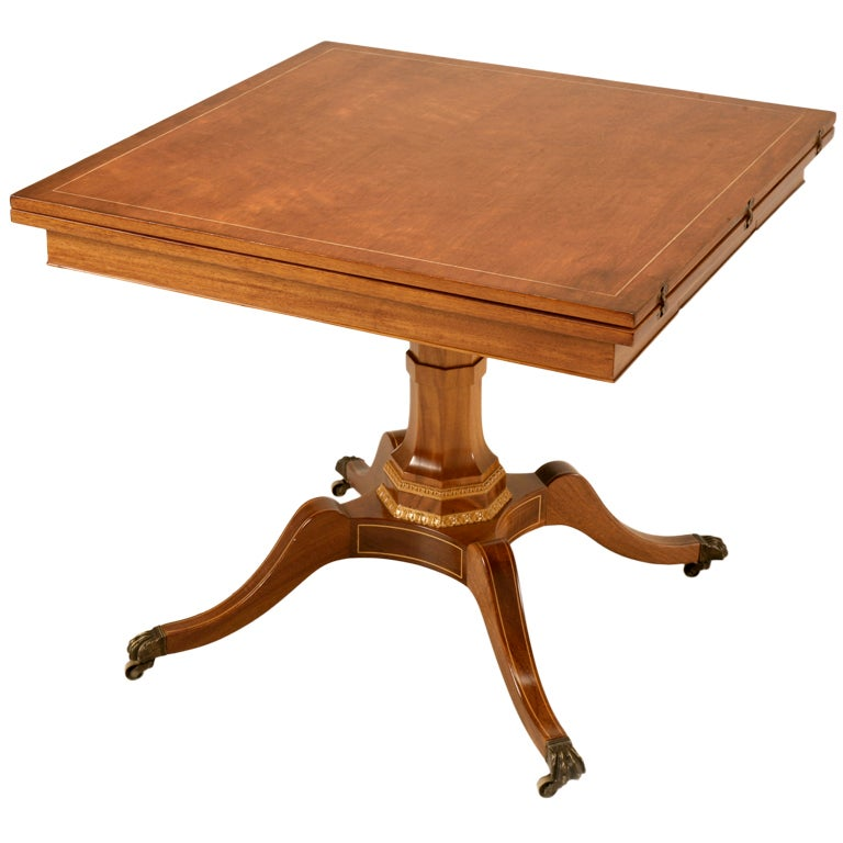English mahogany flip top square to rectangle games dining - Square to rectangle dining table ...