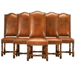 French Dining Chairs in their Original Leather