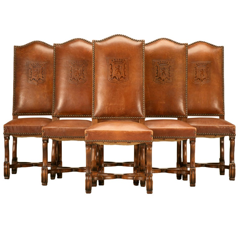 Set Of Six 1920 39 S French Lxiii Embossed Original Leather