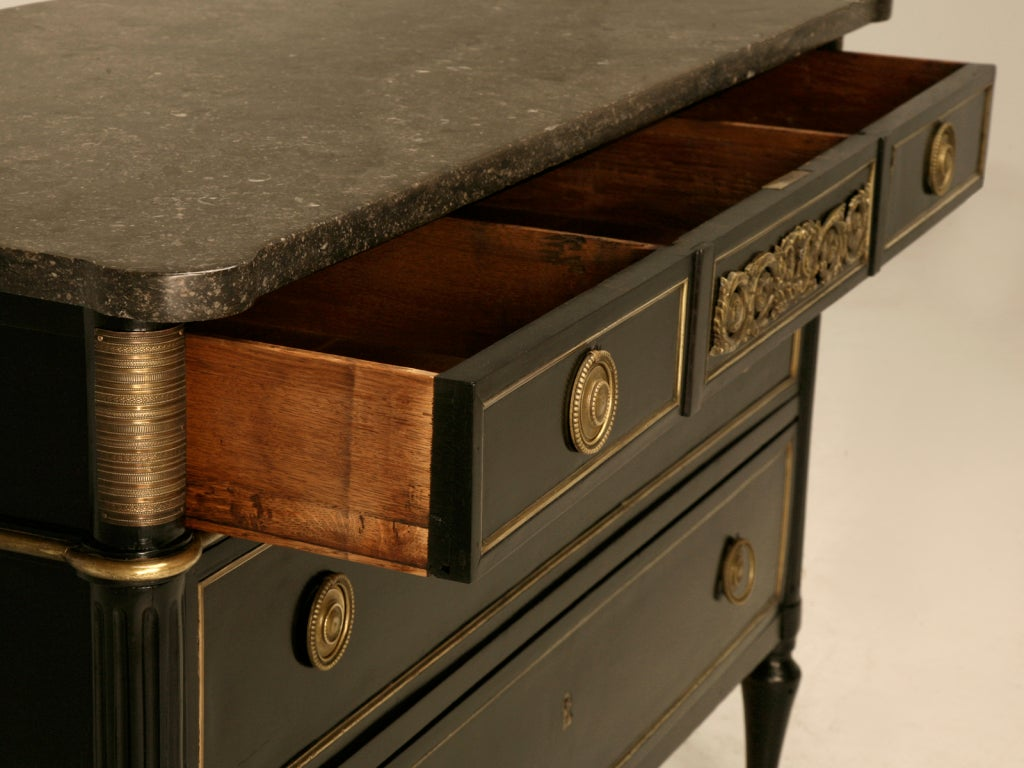 Dramatic Ebonized Antique French Louis XVI 3 Drawer Commode For Sale 1