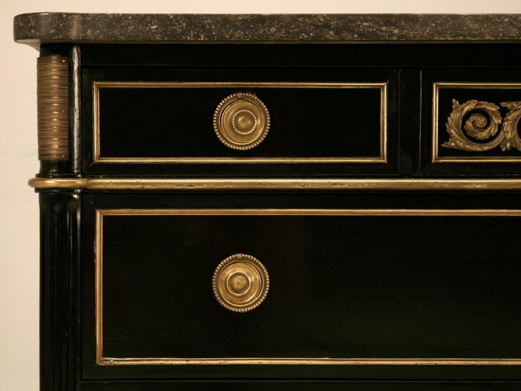Dramatic Ebonized Antique French Louis XVI 3 Drawer Commode For Sale 3