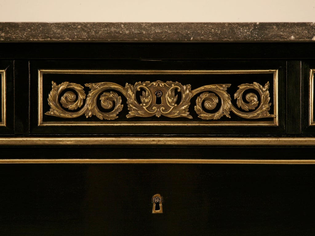 Dramatic Ebonized Antique French Louis XVI 3 Drawer Commode For Sale 4