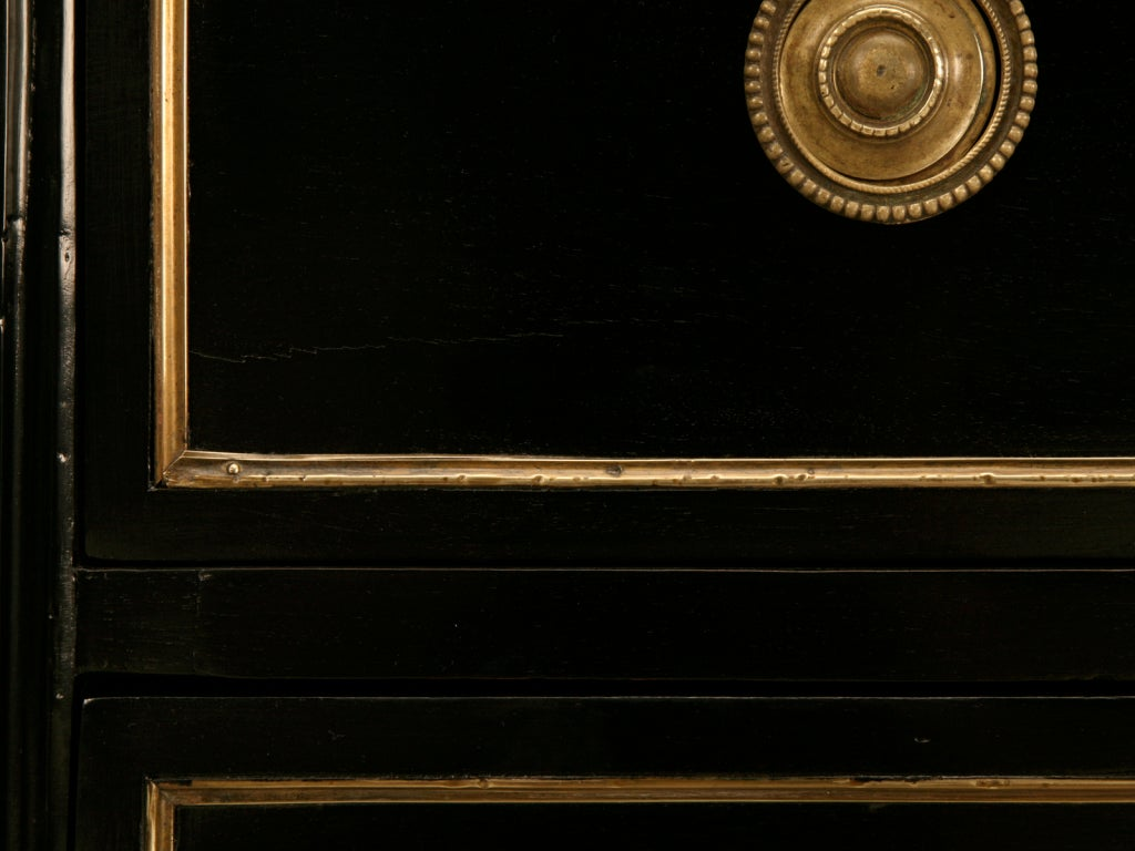 Dramatic Ebonized Antique French Louis XVI 3 Drawer Commode For Sale 5