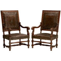 Majestic Pair of Antique Carved Throne Chairs w/Tooled Leather