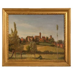 "Original ""Village of Picardy"" Oil on Board signed Jean Leon '43"