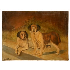 "Original ""Going to the Dogs"" Oil on Canvas signed & dated 1933"