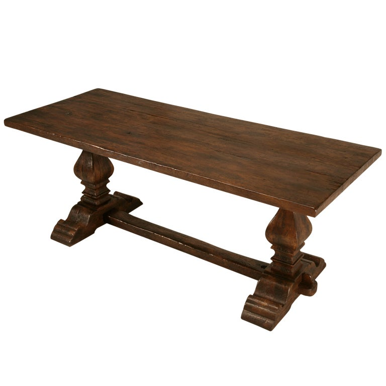 Rustic Antique French Solid Oak Farm Table w Trestle Base at 1stdibs