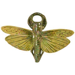 Antique French Sarrguemines Majolica Grasshopper Wall Pocket