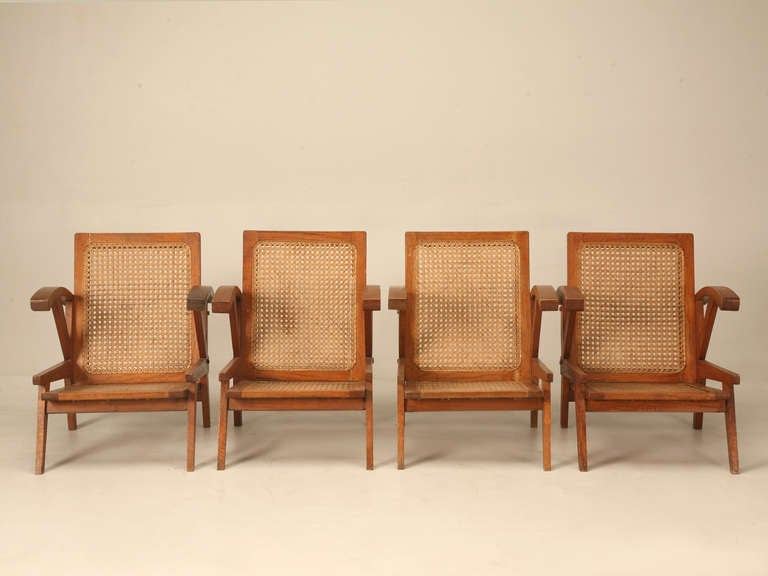 Set Of Four Vintage 1940u0027s French Teak Shipu0027s Deck Chairs ...