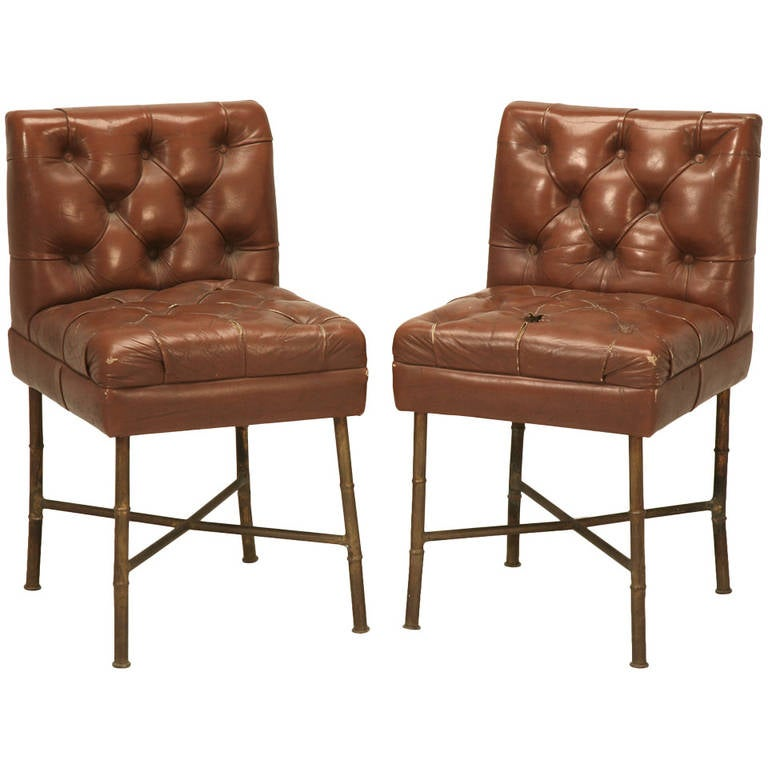 French Leather and Bronze Chairs or Stools in the style of Jacques Adnet,