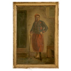 "Mid 19th C. Original ""Ottoman Sultan in Period Attire"" Painting"