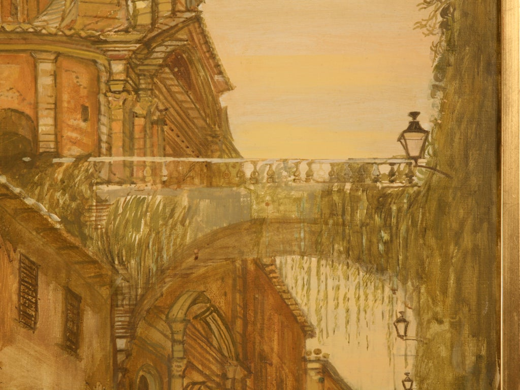 English Oil Painting of a Deserted Continental Village Scene For Sale