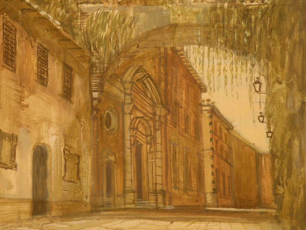 20th Century Oil Painting of a Deserted Continental Village Scene For Sale