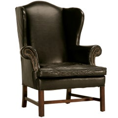 Classic Vintage Chippendale Style Black Leather Wingback Chair
