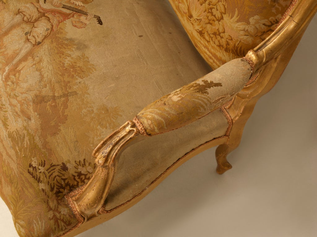 Antique French Gilded Louis XV Style Settee For Sale 1