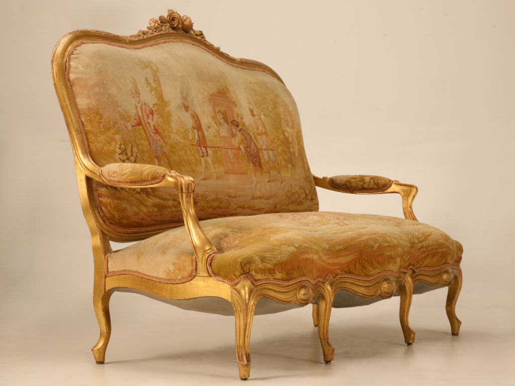 Antique French Gilded Louis XV Style Settee For Sale 2