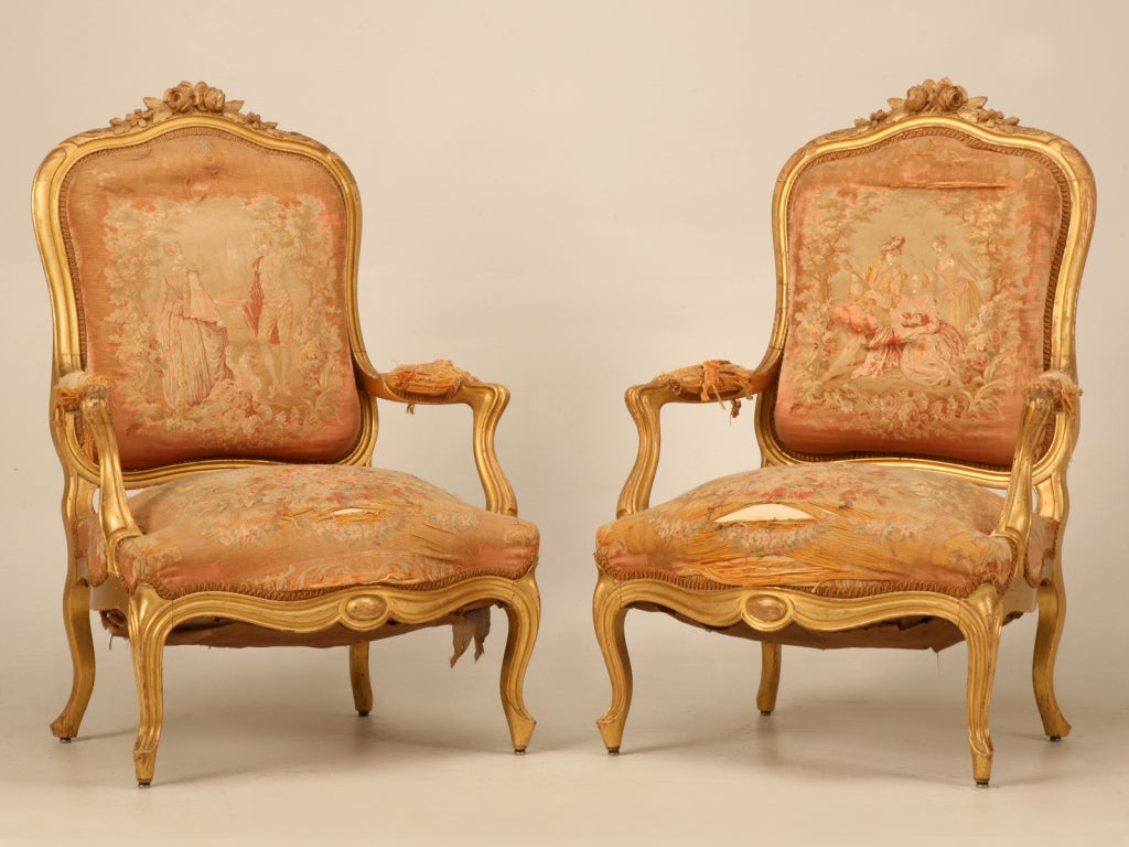 Antique french chair - Antique French Gilt Aubusson Fabric Upholstered Chairs 2