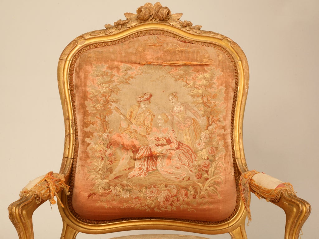 Pair of Orig. Antique French Gilt Aubusson Fabric ...
