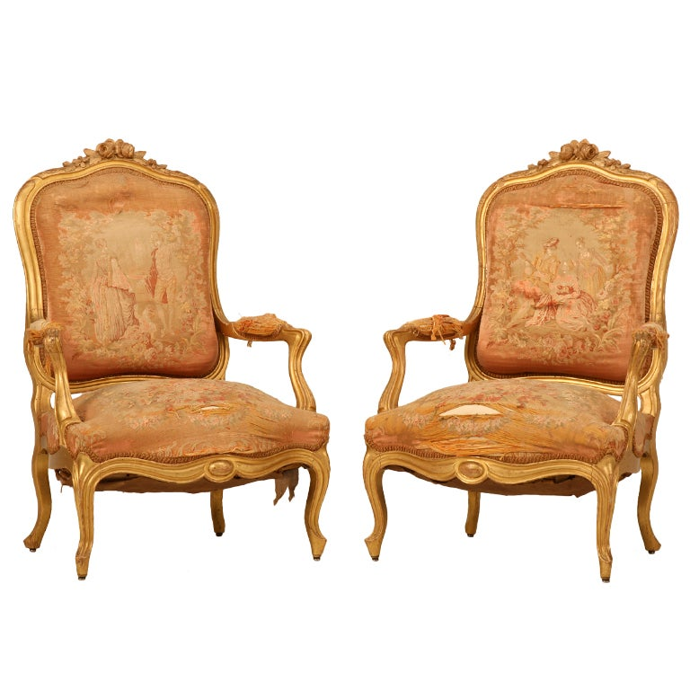 Antique French Gilt Aubusson Fabric Upholstered Chairs 1