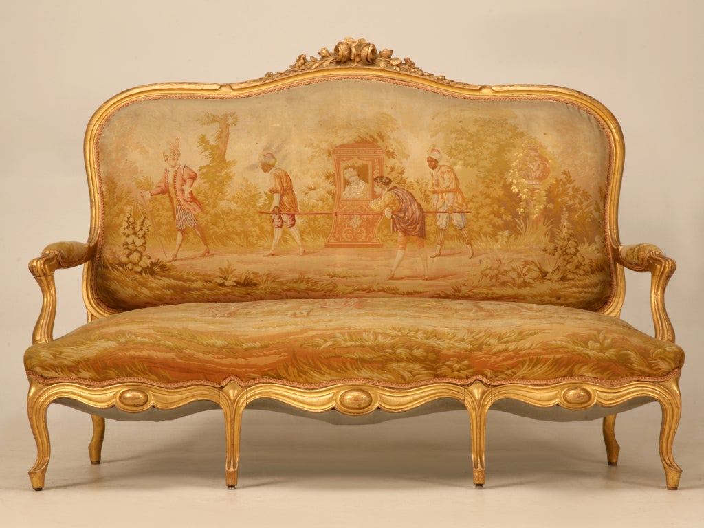Original antique french gilt aubusson fabric upholstered 7 for Fabric couches for sale