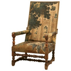 "18th C. Antique French Louis XIII ""Reclining"" Chair w/Aubusson"