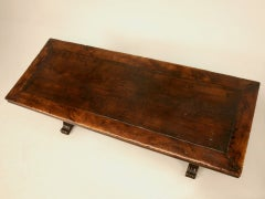Extraordinary Antique French Chestnut & Walnut Trestle Table image 2