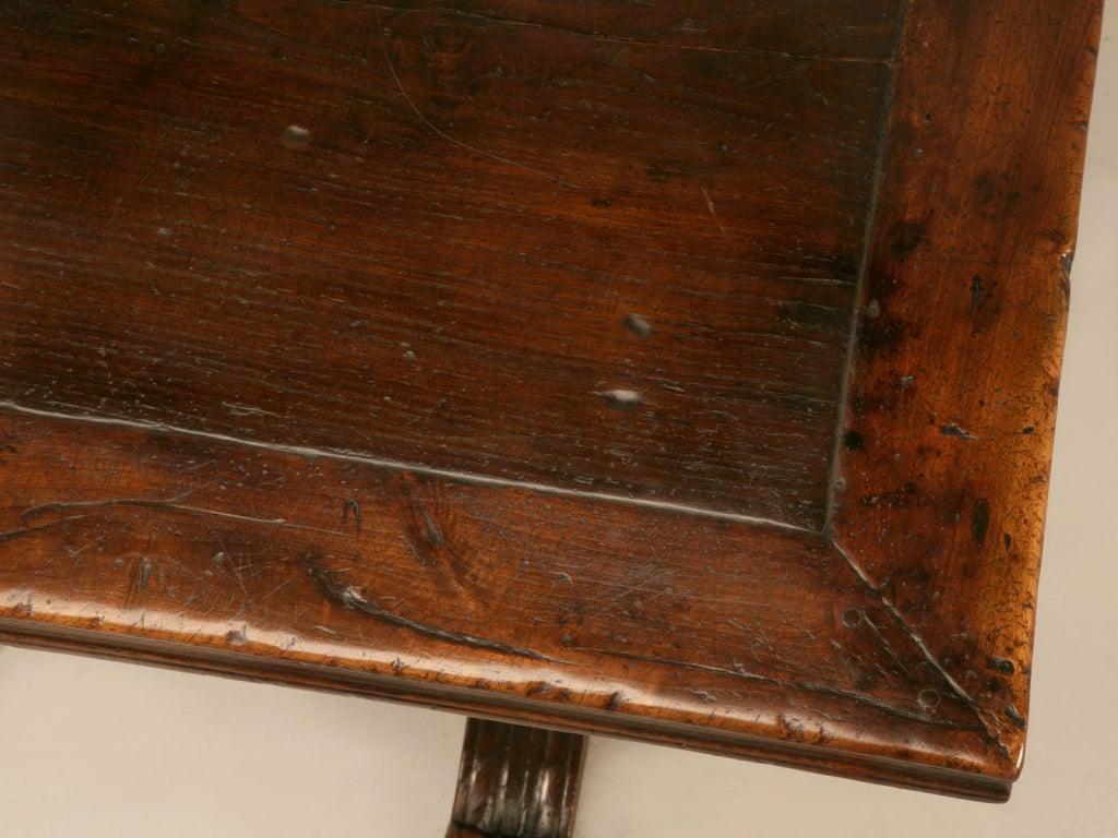 Extraordinary Antique French Chestnut & Walnut Trestle Table In Good Condition For Sale In Chicago, IL