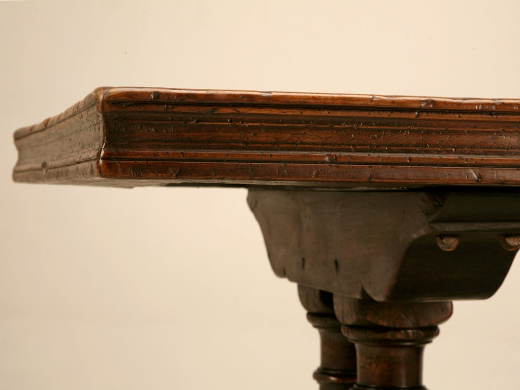 Extraordinary Antique French Chestnut & Walnut Trestle Table For Sale 2