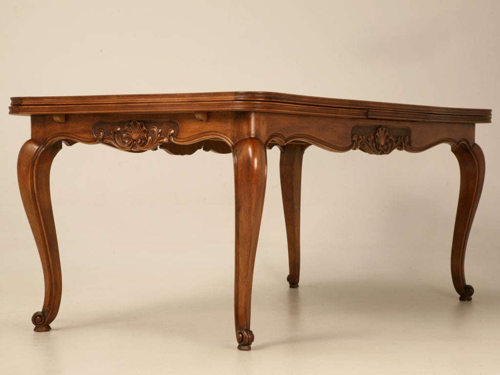 Large vintage french louis xv rococo walnut draw leaf dining table at 1stdibs - Table louis xv ...