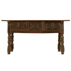 Spanish Console/Sofa Table with Three Deep Drawers