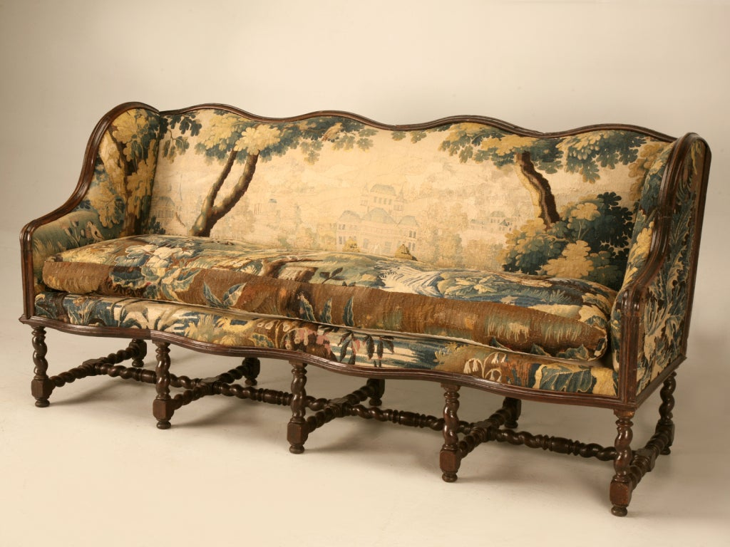 Original antique french louis xiii sofa w earlier aubusson upholstery at 1stdibs Antique loveseat styles